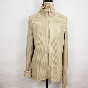 - C.P company knit ribbed zip up sweater